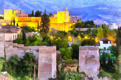 Colorful painting of Alhambra palace Royalty Free Stock Image