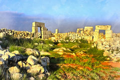 Colorful painting of antient Byzantine town. Serjilla, Syria stock photography