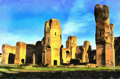 Colorful painting of Baths of Caracalla Royalty Free Stock Photo