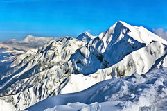 Colorful painting of beautiful winter mountain landsacape Royalty Free Stock Photos