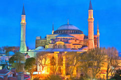 Colorful painting of Blue Mosque Stock Photo