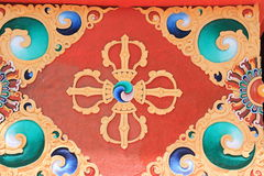Colorful painting from a Buddhist temple. Stock Photography