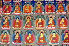 Colorful painting from a Buddhist temple in Ladakh Royalty Free Stock Image