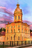 Colorful painting of church in Alexander Nevsky Lavra Stock Photos