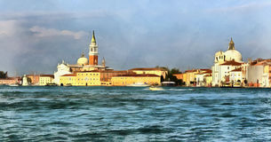 Colorful painting of Church of San Giorgio Maggiore Royalty Free Stock Photography