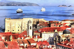 Colorful painting of cityscape of Dubrovnik Stock Photo