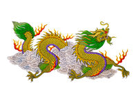 Colorful of  painting dragon chinese style. The Colorful of  painting dragon chinese style to isolate on white background Royalty Free Stock Photo