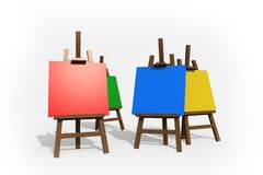 Colorful Painting Easels. On White. Four Easels in Four Different Colors Royalty Free Stock Image