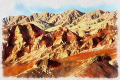 Colorful painting of Flaming Mountains Stock Images