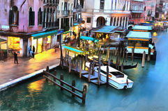 Colorful painting of the Grand Canal from Rialto Bridge Stock Photo