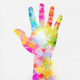 Colorful painting of hand Royalty Free Stock Photo