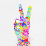 Colorful painting of hand point two finger. Colorful painting of hand ,two finger ,hand made paper Stock Image