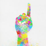 Colorful painting of hand pointing finger. Colorful painting of hand ,one finger ,hand made paper Royalty Free Stock Photo