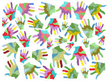 Colorful painting hands seamless background. Isolated colorful painting hands seamless patterns on white background Stock Images