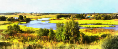 Colorful painting of landscape with Moskva river royalty free stock images