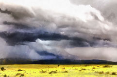 Colorful painting of landscape with mountains. Maasai Mara National Reserve, Kenya Royalty Free Stock Photos