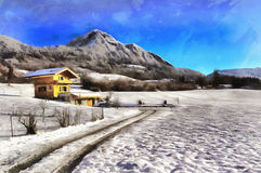 Colorful painting landscape with mountains and small house royalty free stock images