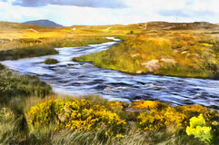 Colorful painting landscape near Cnoc Mordain and Loughannilaun lake stock image