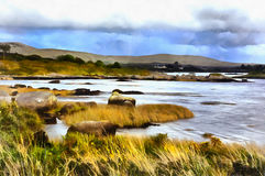 Colorful painting of landscape near Cnoc Mordain and Loughannilaun lake Ireland royalty free stock photo