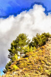 Colorful painting of landscape in Troodos mountains royalty free stock photography