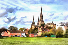Colorful painting of Lichfield Cathedral Stock Images