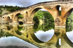 Colorful painting of medieval bridge Stock Photos