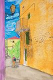 Painting of a street in Roussillon, France stock image