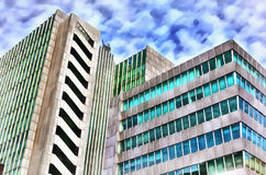 Colorful painting of modern office building Royalty Free Stock Photo