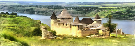 Colorful painting of old Khotyn fortress stock illustration