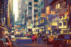 Colorful painting of people walking on city street Stock Image