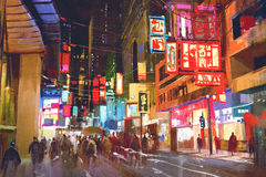 Colorful painting of people walking on city street at night Royalty Free Stock Image