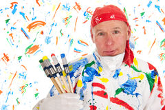 Colorful painting with safety mask Royalty Free Stock Photo
