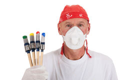 Colorful painting with safety mask Stock Photo