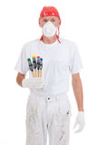 Colorful painting with safety mask Royalty Free Stock Photography