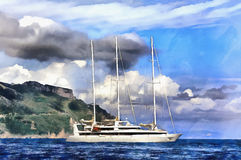 Colorful painting of sailing yacht Stock Photo