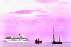 Colorful painting seascape with cruise ship. In the Mediterranian sea, Venice, Veneto, Itlaly stock photography