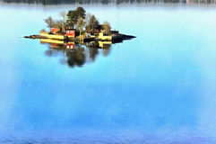 Colorful painting of seascape with islands. In Baltic sea royalty free stock photo