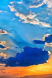Colorful painting of sky at sunset stock image
