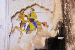 Colorful painting on a wall, Taragarh Fort, Bundi, India Stock Photos