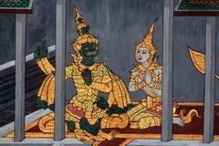 Colorful painting in Wat Phra Kaew Temple, Bangkok Stock Photography