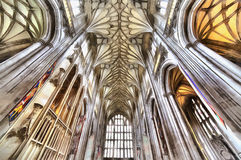 Colorful painting of Winchester Cathedral interior Royalty Free Stock Images