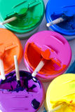 Colorful paints. A macro shot of colorful paint containers Stock Images