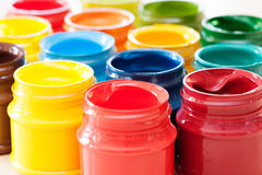 Colorful paints bottles. Close up photo of colorful paints bottles Royalty Free Stock Photos