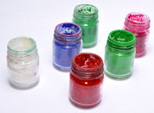 Colorful paints bottles Stock Image