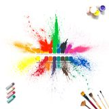 Colorful paints and brushes with multi-colored spray splash paint, gouache, watercolor isolated on white background. Royalty Free Stock Images