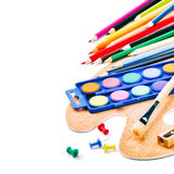 Colorful paints and crayons Stock Photography