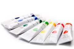 Colorful paints for drawing. Rainbow, gouache for creativity Royalty Free Stock Photos