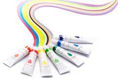 Colorful paints for drawing, rainbow. Gouache for creativity Royalty Free Stock Photography