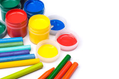 Colorful paints and pencils Royalty Free Stock Image