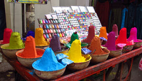 Colorful paints and souvenirs on the indian market Royalty Free Stock Images